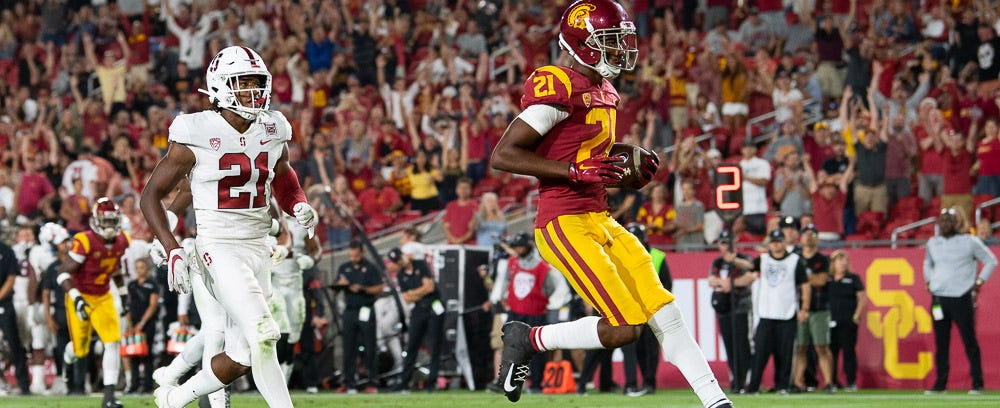 Which wide receiver will catch more touchdowns for USC this year?