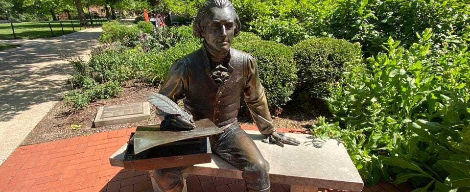 Does the Thomas Jefferson statue on the MU campus need an interpretive sign?